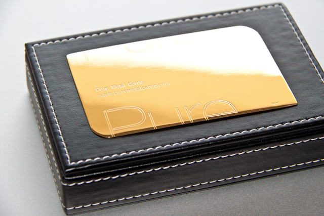 Gold 18 carat metal business card by Pure Metal Cards