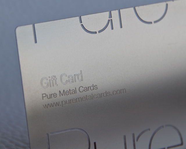Gift card – metal business card by Pure Metal Cards