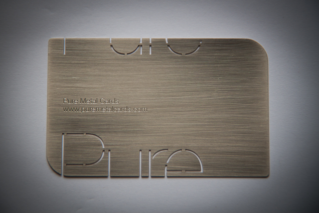 Brushed stainless steel metal business card by Pure Metal Cards