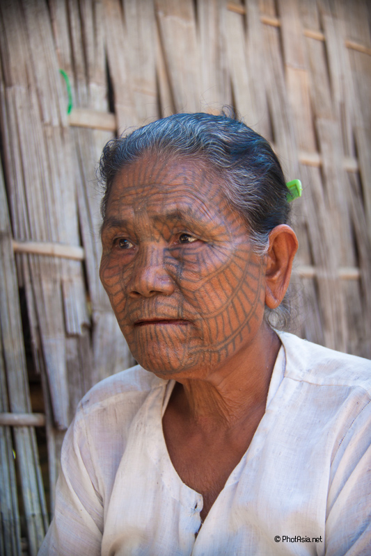 tattooed woman – chin state myanmar